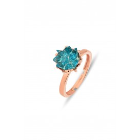 Lotus Flower Silver Ring with Aquamarine Stone