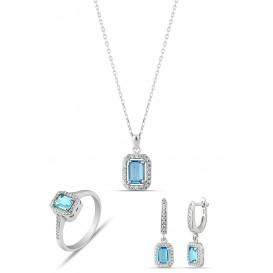 Aquamarine Rengi Baget Taşlı Gümüş Set