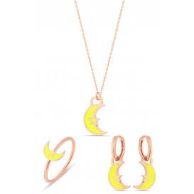 Sarı Neon Ay Dede Gümüş Set