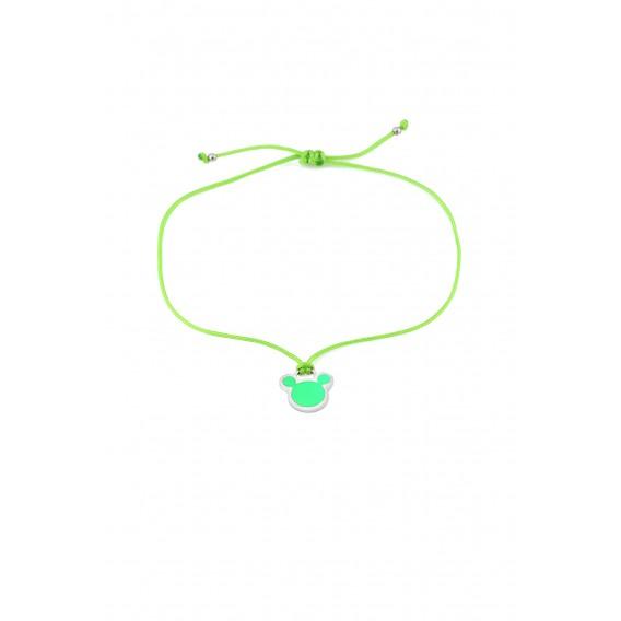Yeşil Neon Micky İpli Gümüş Halhal