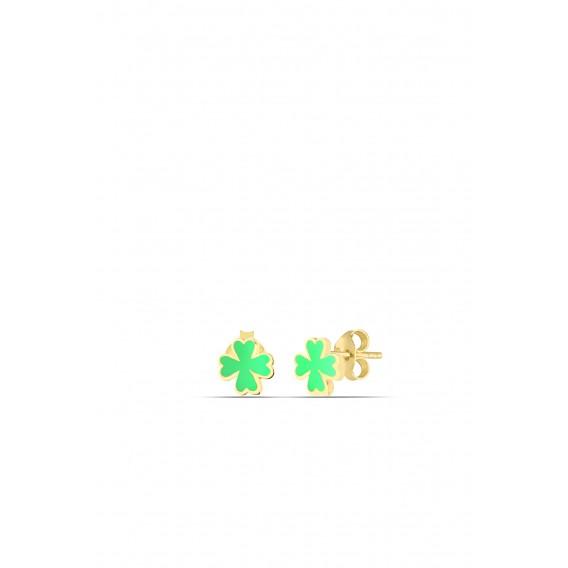 Yeşil Neon Yonca Gümüş Nokta Küpe