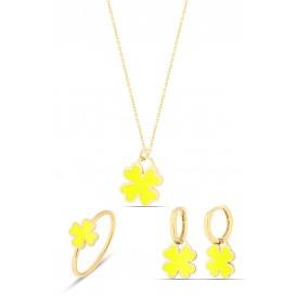 Sarı Neon Gümüş Yonca Set