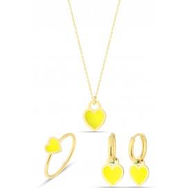 Sarı Neon Gümüş Kalp Set
