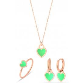 Yeşil Neon Gümüş Kalp Set