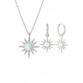 Beyaz Opal Taşlı Gümüş Set