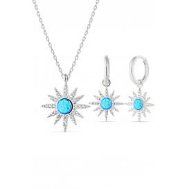 Mavi Opal Taşlı Gümüş Set