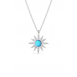 Beyaz Opal Taşlı Gümüş Kolye