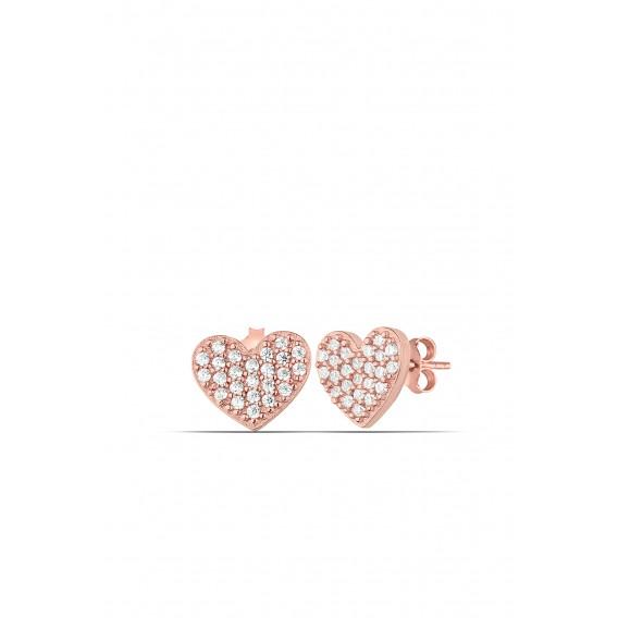 Minimal Heart Zircon Earrings