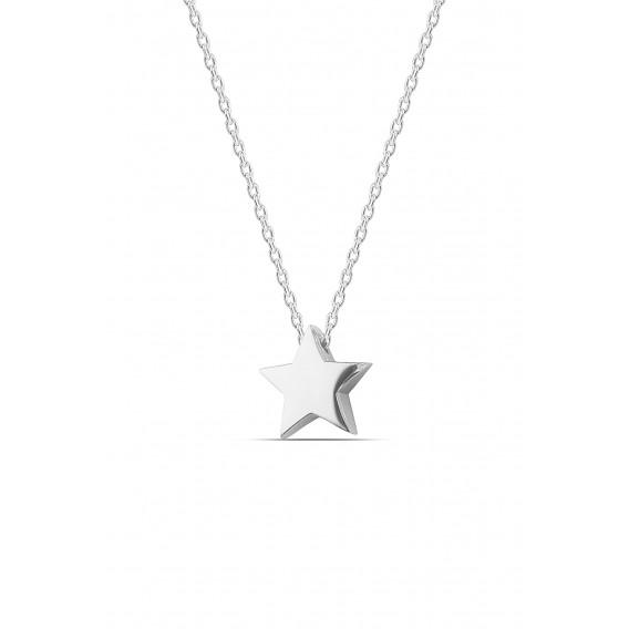 Gümüş Minimal Yıldız Kolye