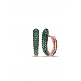 Green Stone Half Heart Earrings