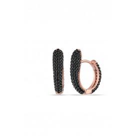 Onyx Stone Half Heart Earrings