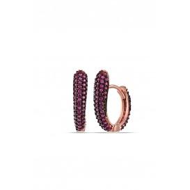 Fuchsya Stone Half Heart Earrings