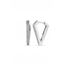 Silver Triangle Earrings with Zircon Stones
