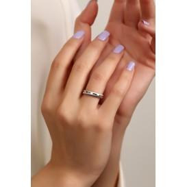 Gümüş 4 mm Kumlu Kadın Alyans