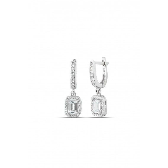 Sapphit Silver Earrings with Sapphiet-Colored Baguette Stones