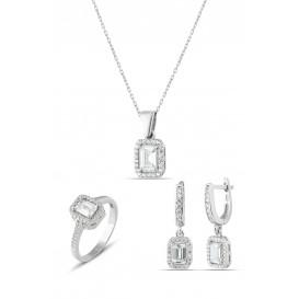 Zirkon Baget Taşlı Gümüş Set