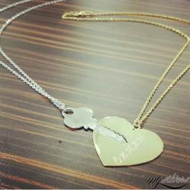 Gümüş Kalp ve Anahtar Çift Kolye