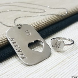 Custom Design Silver Ring Necklace Combination