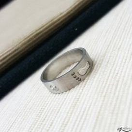 Footprint Silver Wedding Ring