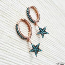 Firuze Stone Star Silver Earrings