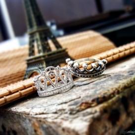 Kral Kraliçe Tacı Gümüş Yüzük
