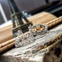 King Queen Crown Silver Ring