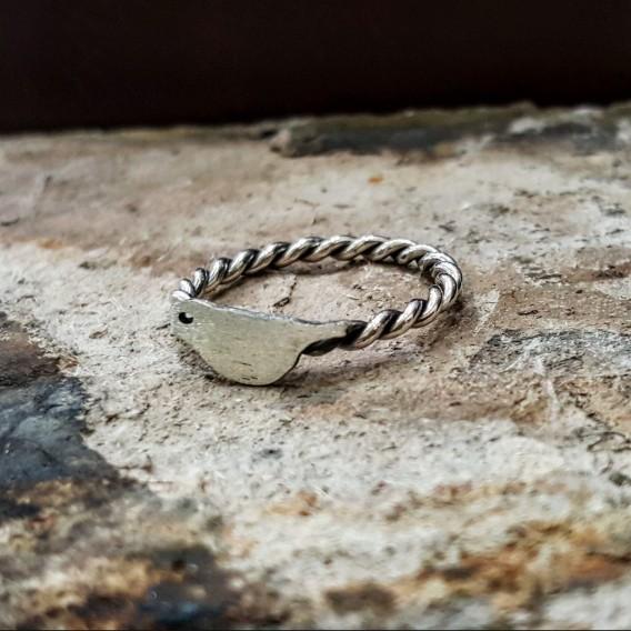 Kuş Temalı Gümüş Yüzük