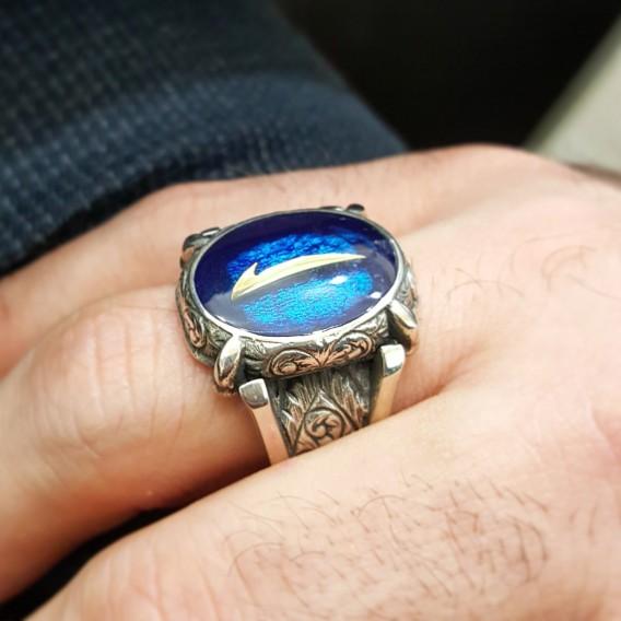 Elif Yazılı El İşi Gümüş Erkek Yüzüğü