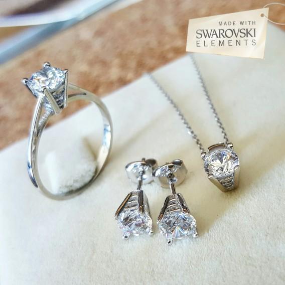 Swarovski Taşlı Gümüş Set