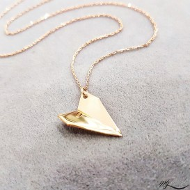 Paper Airplane Design Silver Necklace