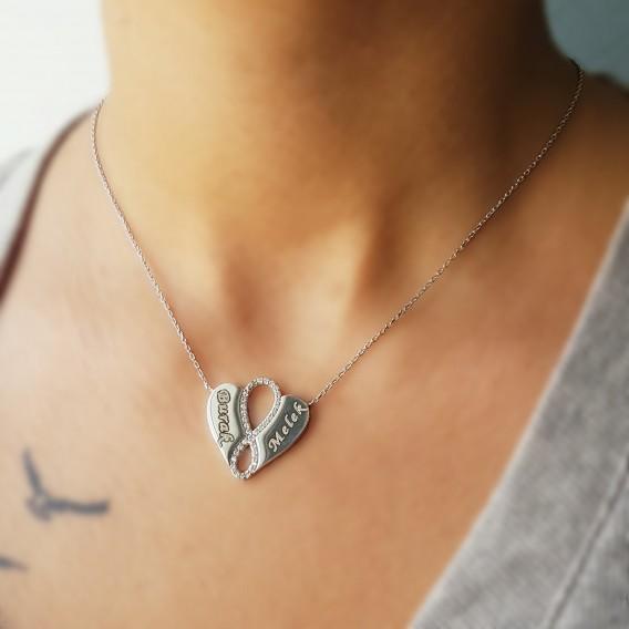 İsimli Kalp Sonsuzluk Gümüş Kolye