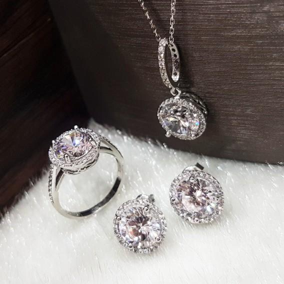 3 Karat Taşlı Gümüş Set