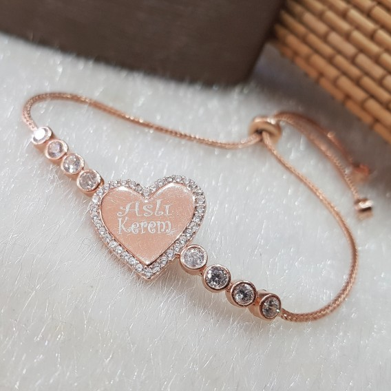 İsimli Kalp Gümüş Bileklik