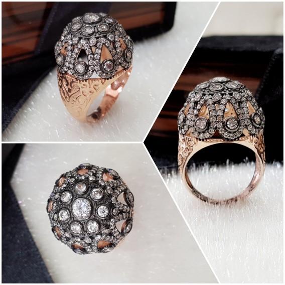 Elmas Modeli Kubbe Gümüş Yüzük