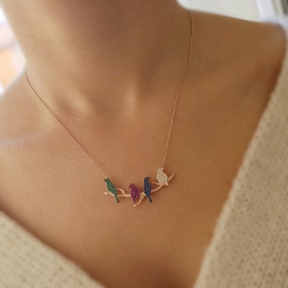 Renkli Kuş Gümüş Kolye