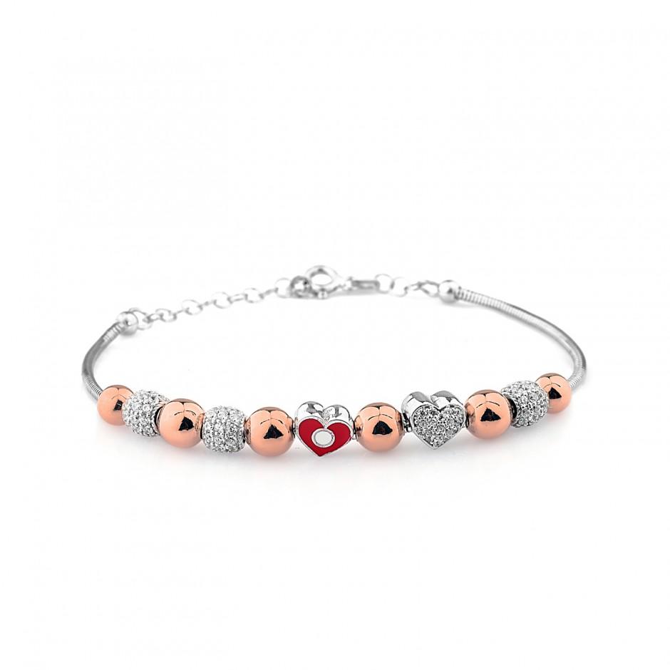 Enamel Heart Silver Bracelet