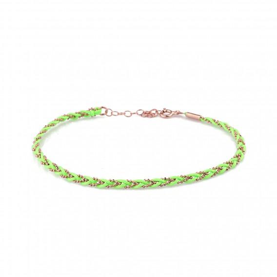 Yeşil Örme Gümüş Halhal