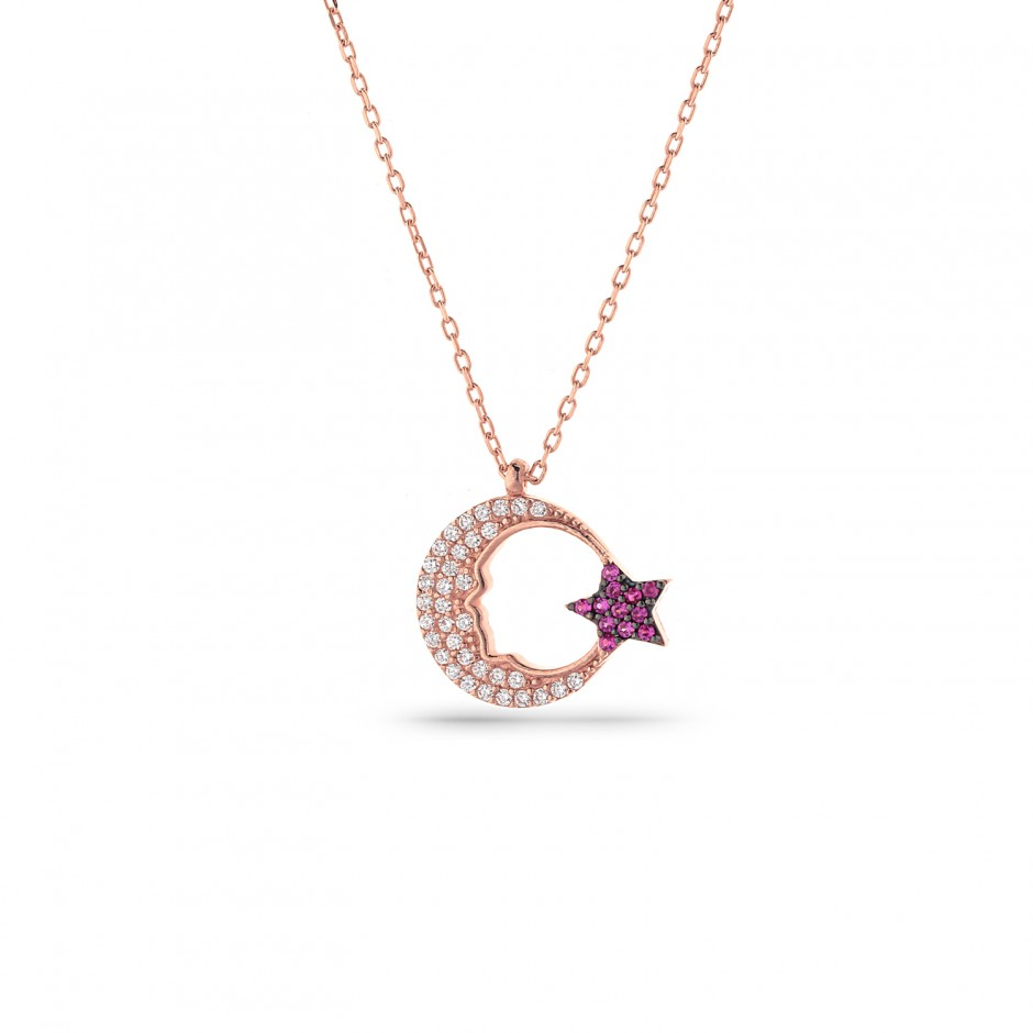 Moon Star Silver Necklace
