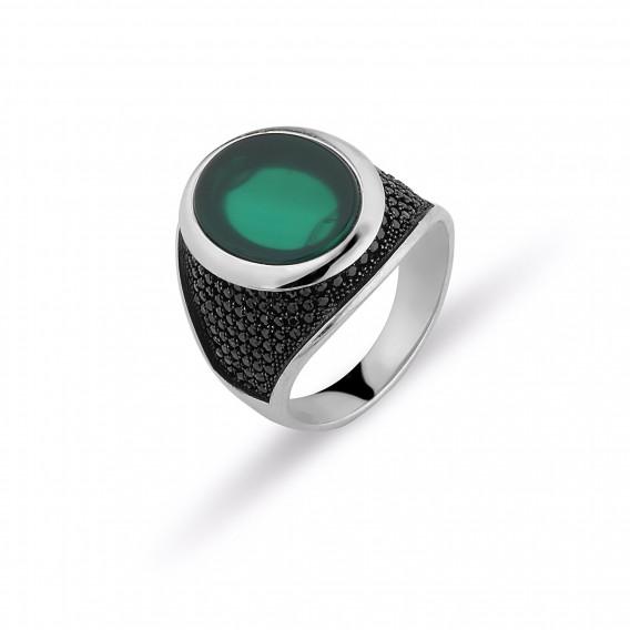 Yeşil Akik Taşlı Erkek Yüzüğü