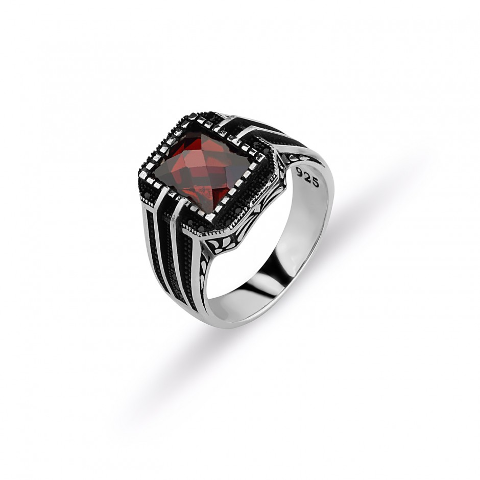 Cut Red Stone Men's Ring
