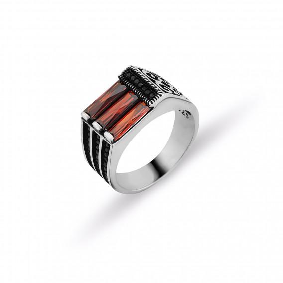 Kırmızı Zirkon Taşlı Erkek Yüzüğü