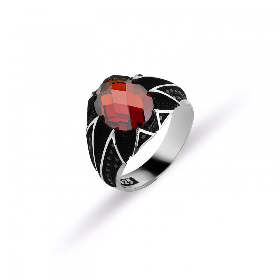 Red Zircon Stone Men's Ring