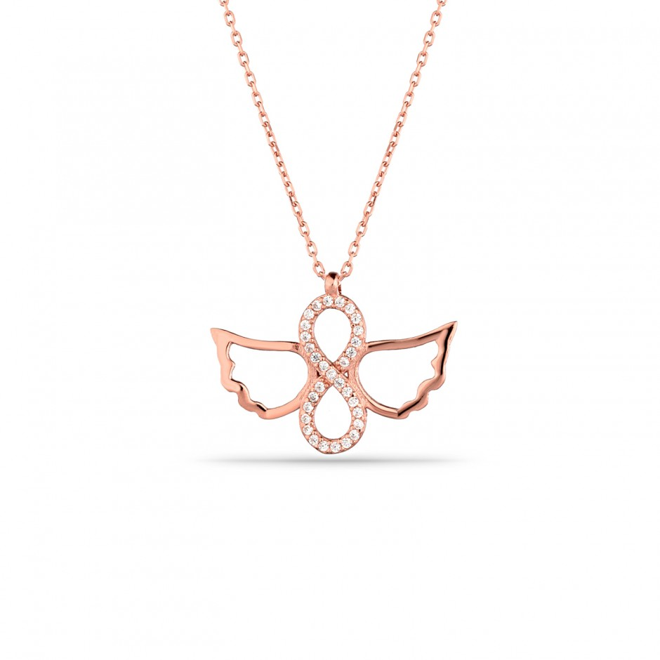 Angel Winged Infinity Silver Necklace