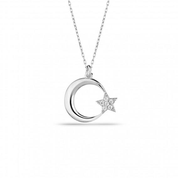 Klasik Ay Yıldız Gümüş Kolye