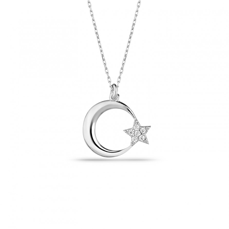 Classic Moon Star Silver Necklace