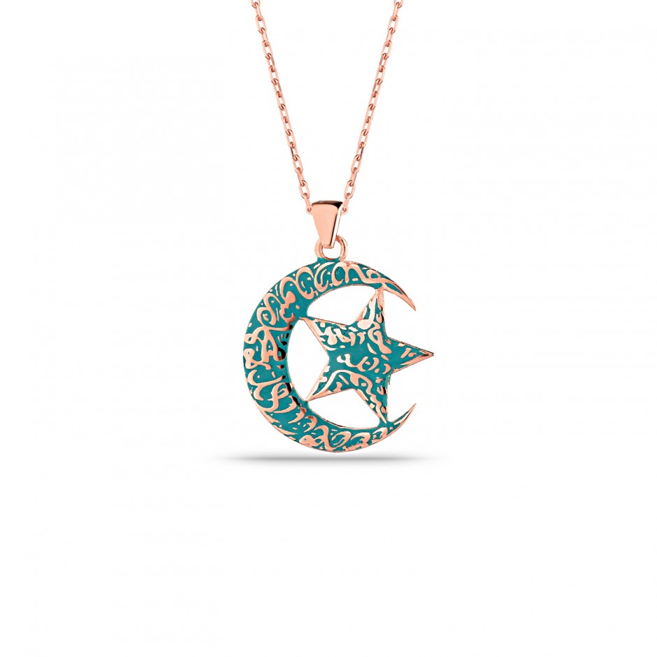 Line Embroidered Mineli Moon Star Necklace