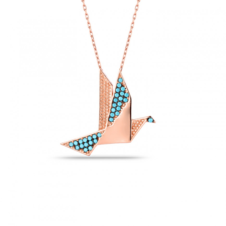 Origami Kuş Gümüş Kolye
