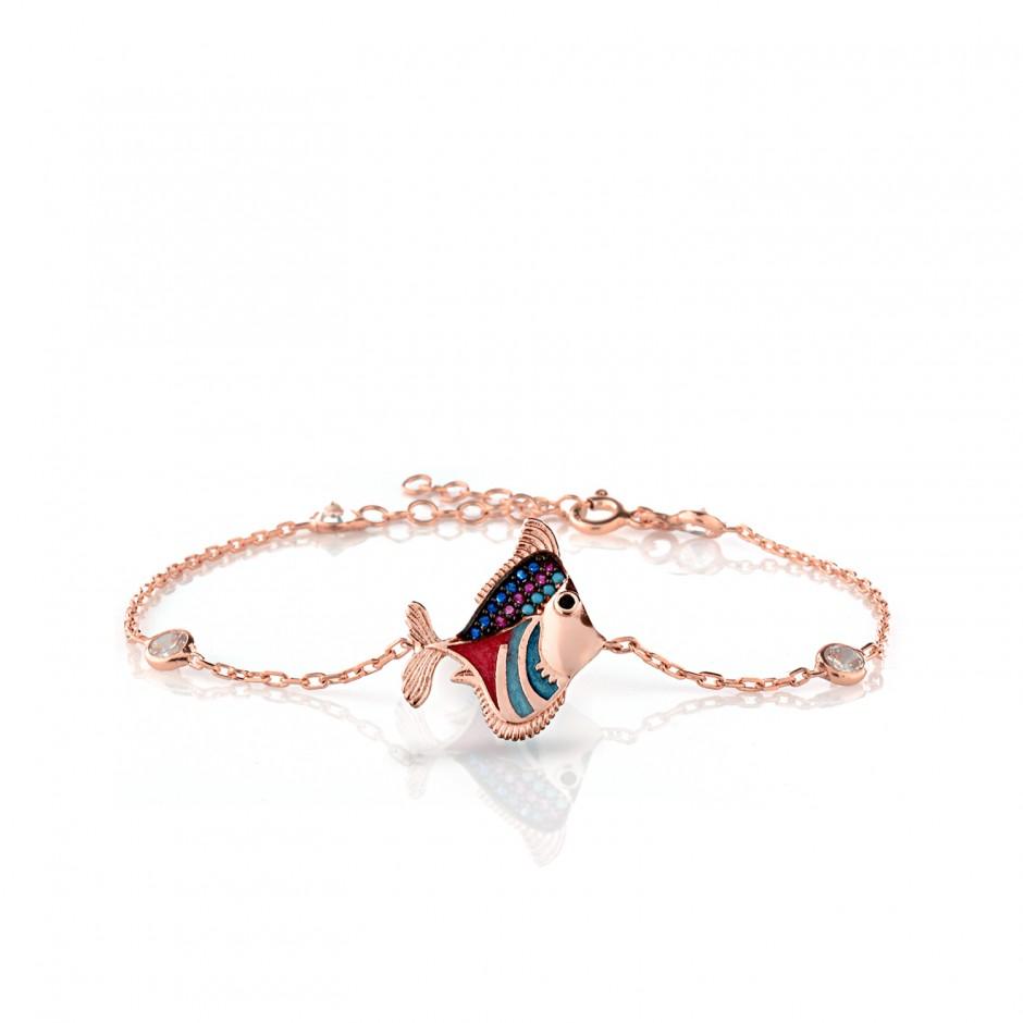 Enamel Fish Silver Bracelet