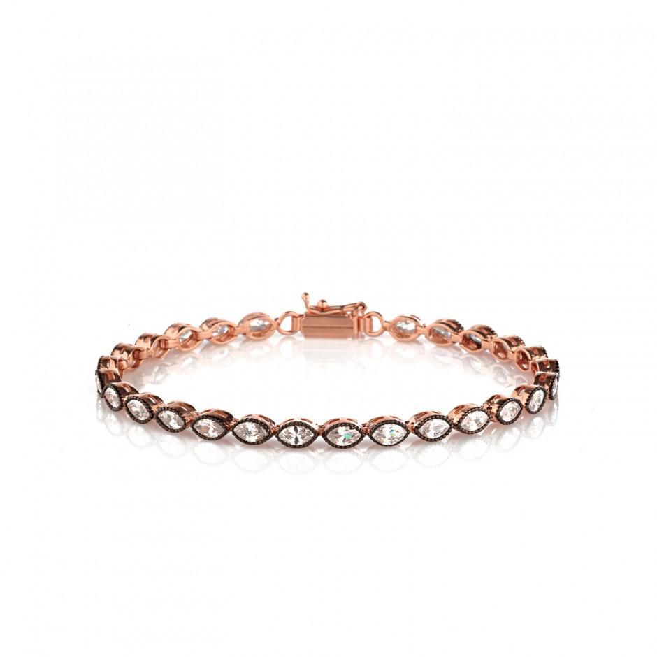 Almond Stone Diamond Model Silver Bracelet