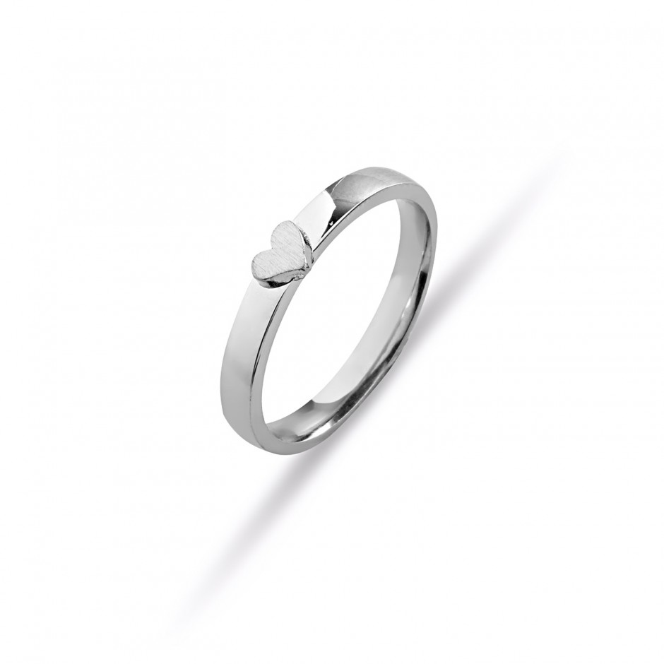 Hearty Women's Silver Wedding Ring